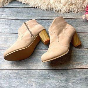 Shoes - NWOB Tan Vegan Leather Heeled Booties